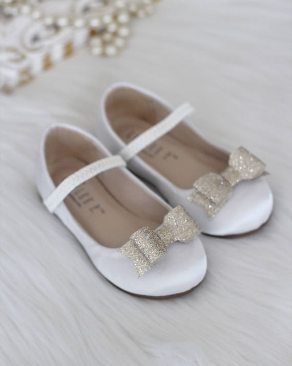 b15a7e0feec95 Infant Toddler and Girls Shoes WHITE satin mary-jane with   Etsy