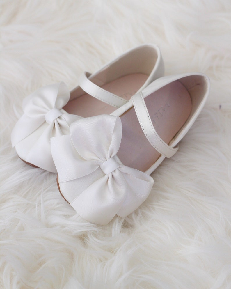 58322b2d2396 OFF WHITE Satin maryjane flats with satin ribbon bow perfect