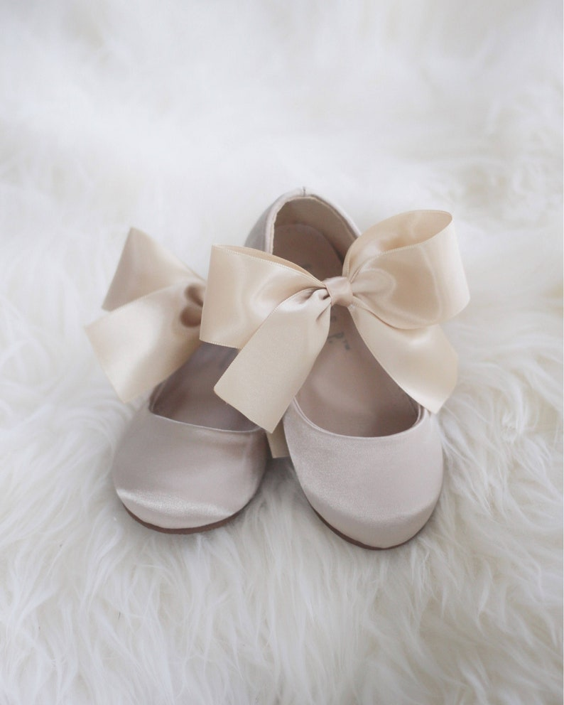1eaefe211eefd Girls CHAMPAGNE Satin shoes - Maryjane with gold satin bow for flower girl  shoes, Toddler Shoes, Gold Shoes
