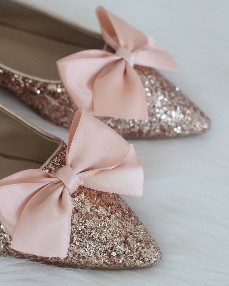 f596d57860ff Women Wedding Shoes Bridesmaid Shoes ROSE GOLD Rock Glitter