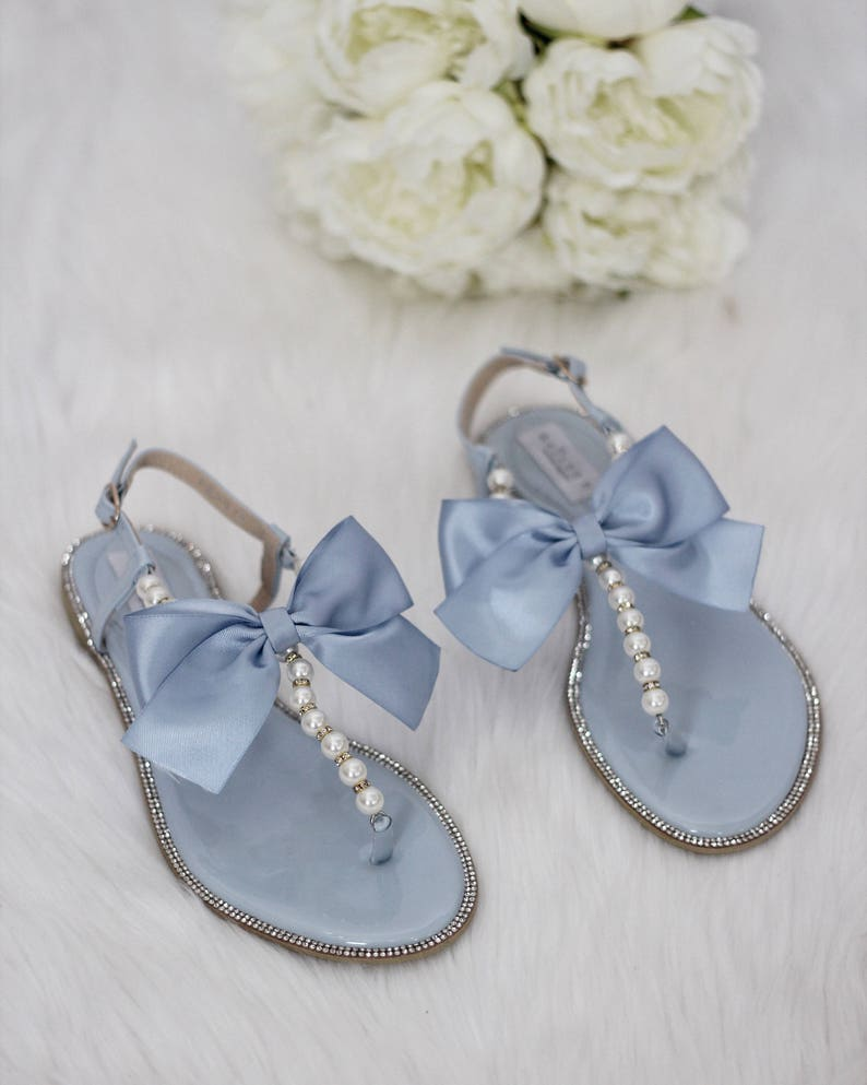 Women   Kids Wedding Pearl Sandals LIGHT BLUE Patent