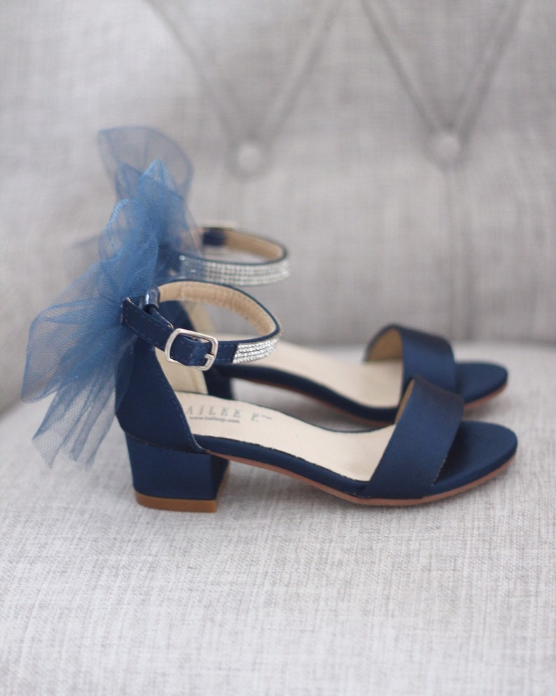 6c143284fb9e NAVY SATIN Block Heel Sandals with Tulle Bow Girls Sandals