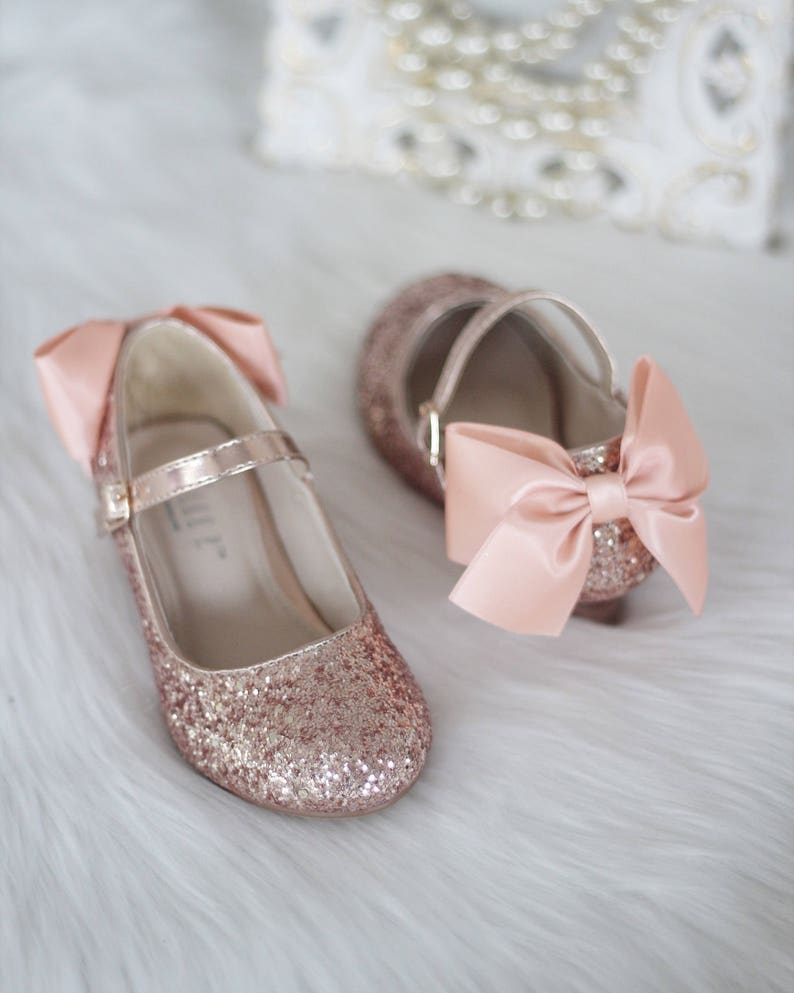 575d0ae0ccd Girls Heel Glitter Shoes - ROSE GOLD Rock Glitter mary-jane heels with  added satin bow - Flower Girl shoes, Birthday Party Shoes