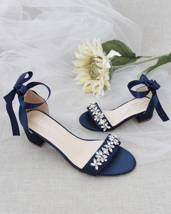 Navy Satin Block Heel Sandals with