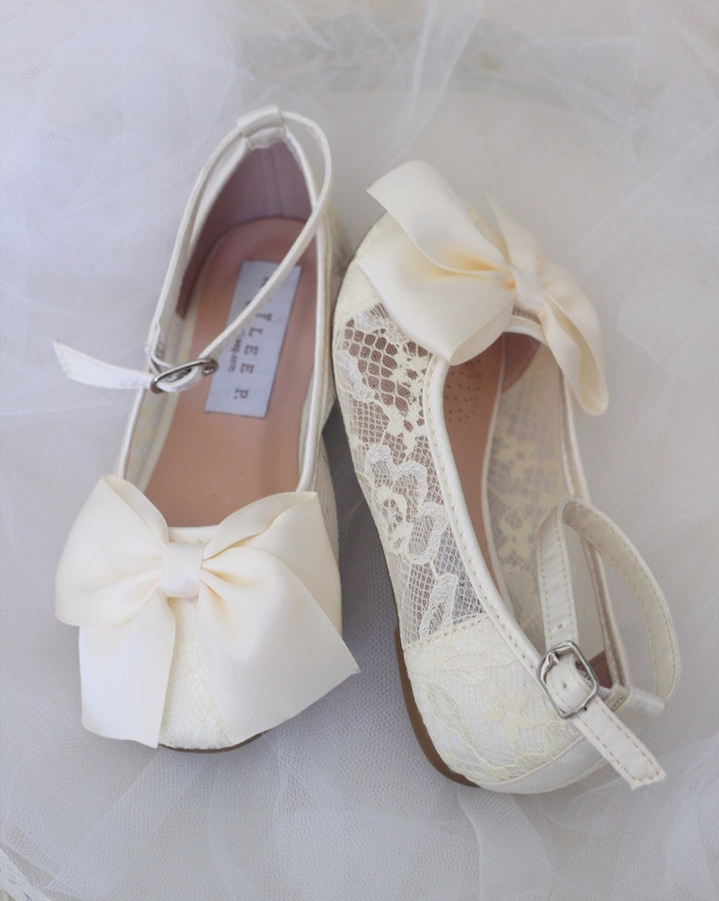 1670c47fa39 IVORY Lace flats with Ankle strap and FRONT BOW For flower