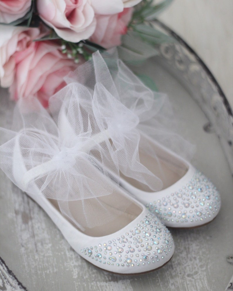 bd6ad0b56a72e WHITE SATIN Maryjane Flats with white tulle bow and Rhinestones- For flower  girls shoes, baptism and christening shoes