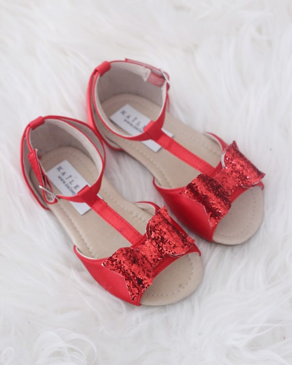 49b47a3fb842a RED Satin T-strap Flats with Rock Glitter Bow - for flower girls, toddler  girls shoes