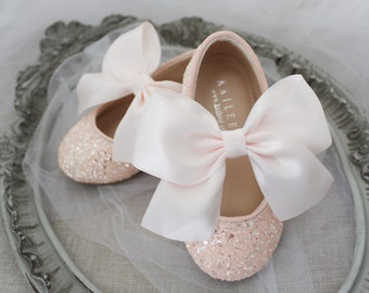 Dusty Pink Rock glitter mary-jane with satin bow for flower girls -  Blush Shoes, Girls Shoes