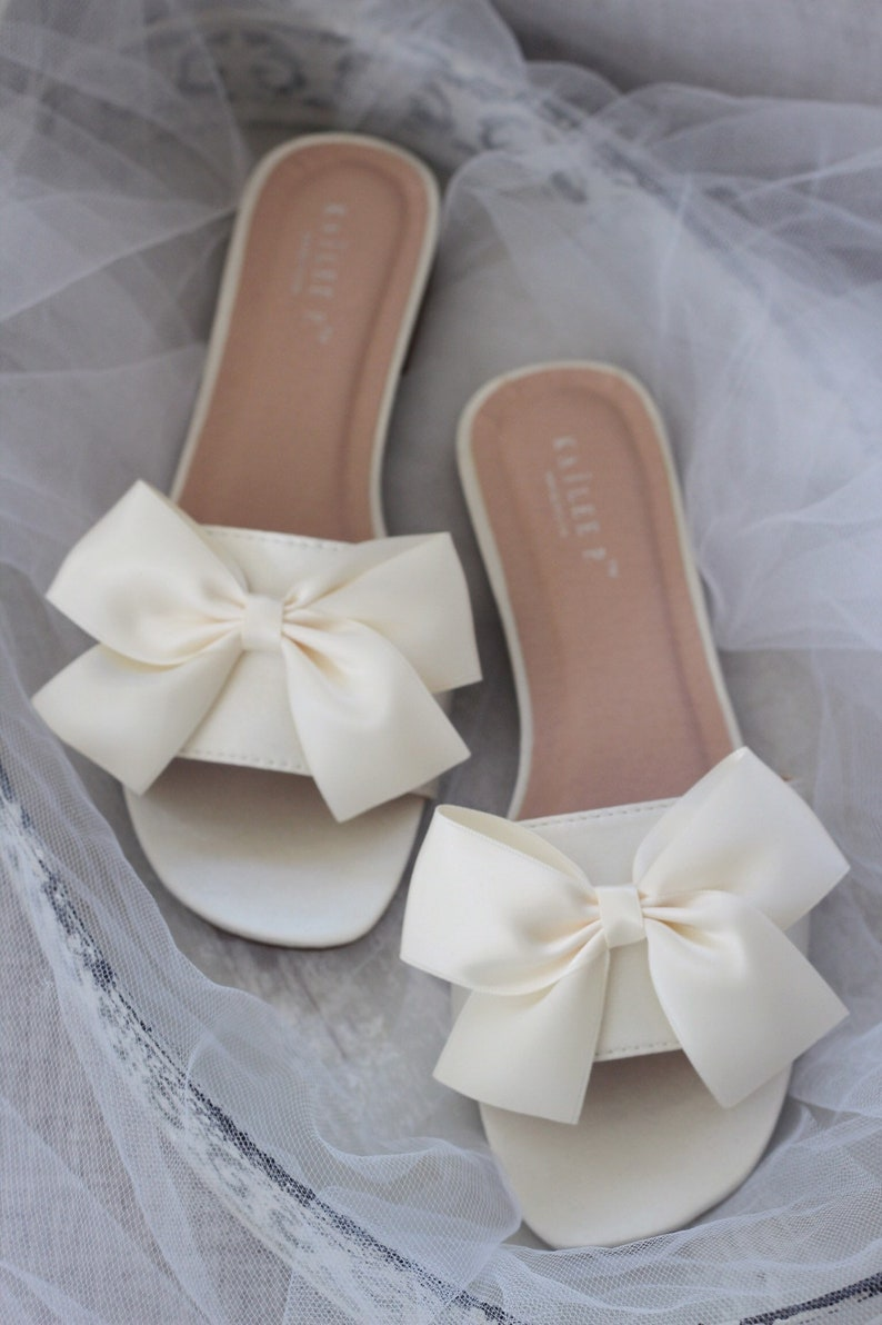 18a0d61a3 IVORY SATIN Slide Flat Sandals with Satin Bow Bridal | Etsy