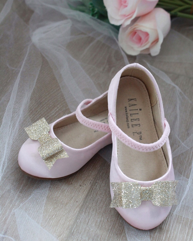 f1f4d83bc5bba PINK SATIN mary-jane with glitter tuxedo bow flower girls   Etsy