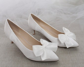 White Satin Pointy Toe Pump Low Heels with Satin Bow, Women Wedding Shoes, Bridesmaids Shoes, Bridal Shoes, Women Heels