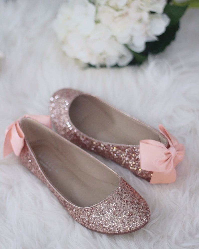 604739d7b21a ROSE GOLD ROCK Glitter Flats with Back Satin Bow Bridal