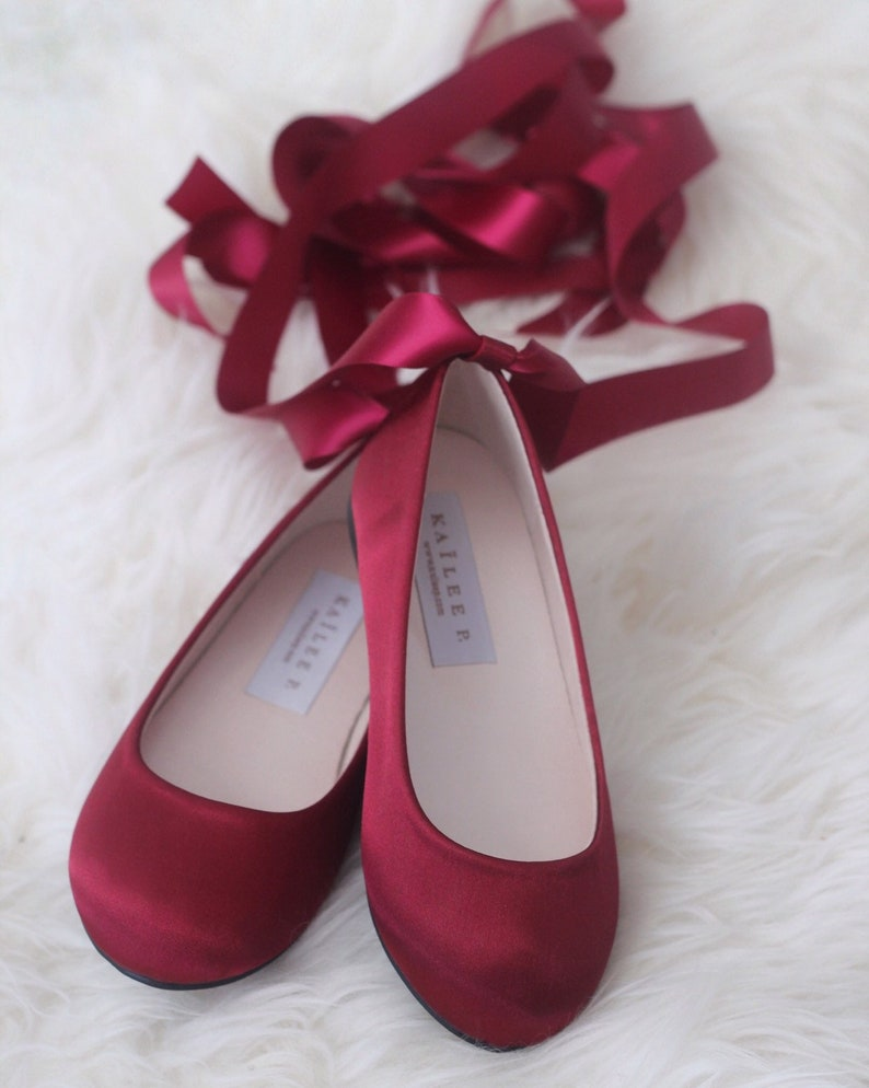 b042d8ceedd BURGUNDY SATIN BALLERINA Lace Up Flats flower girls shoes