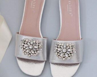 Silver Metallic Flat Sandals with BROOCH -   Women Wedding Flat Sandals, Bride Sandals, Bridesmaids Sandals