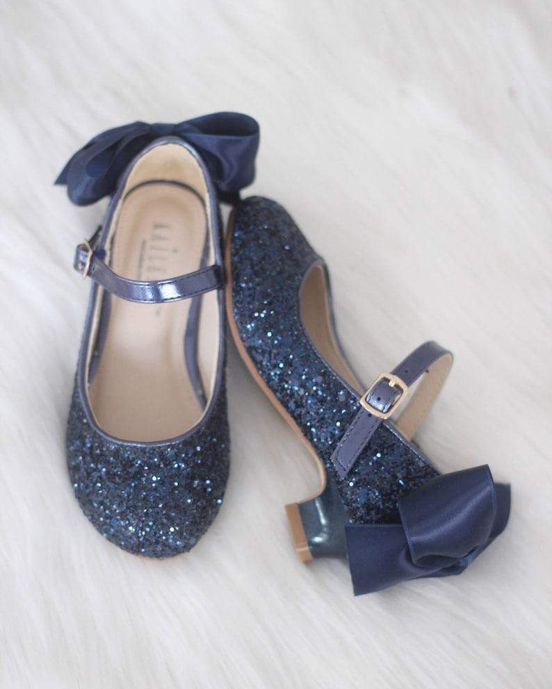 bfe22646a98276 Girls Heel Glitter Shoes NAVY Rock Glitter mary-jane heels
