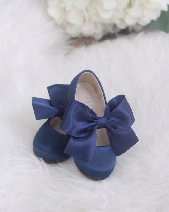 NAVY satin bow for flower girl shoes   Etsy