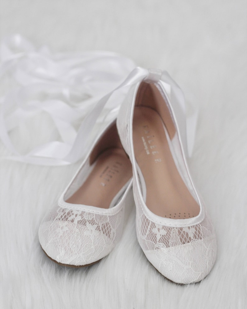 edfd78dfbe1 Girls WHITE LACE Ballerina Shoes Flower Girl Shoes