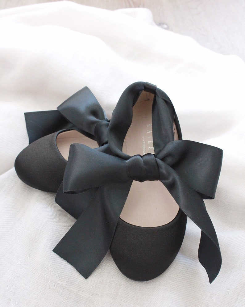 f45cab9bf0923 BLACK Satin Flats with Satin Ankle Strap - Satin flower girls shoes, Formal  Shoes for Girls, Birthday Shoes, Junior Bridesmaids Shoes