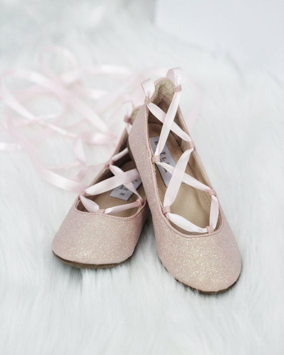 PINK GLITTER Infant girl Shoe and Girls ballerina Shoes Lace Up ... 51fd55ccf