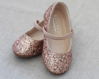 Rose Gold Rock Glitter Mary Jane Flats for Flower Girls Shoes, Girls Shoes, Holiday Shoes, Party Shoes