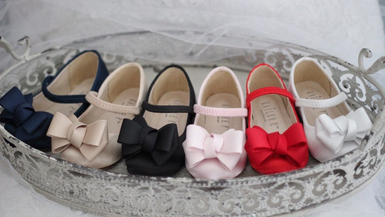 Valentines Day Shoes RED Satin Maryjane with GROSGRAIN BOW for flower girl shoes Toddler Girl Shoes