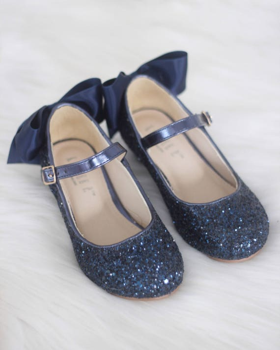 699ada23ead Girls Heel Glitter Shoes - NAVY Rock Glitter mary-jane heels with added  satin bow - Flower Girl shoes and Princess Shoes