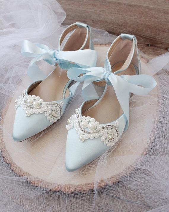 Light Blue Satin Pointy Toe Flats with