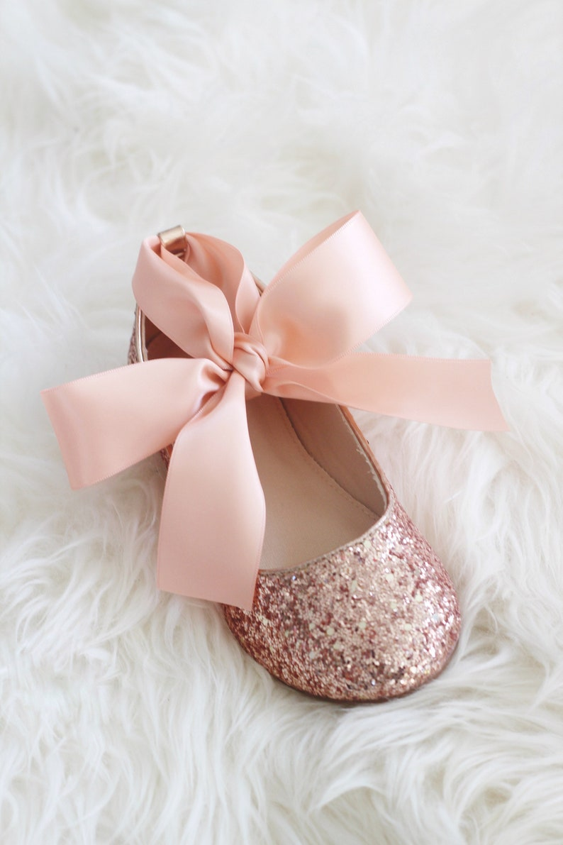 5ea88b4d8e88 ROSE GOLD rock glitter ballet flats with Satin Ankle Tie