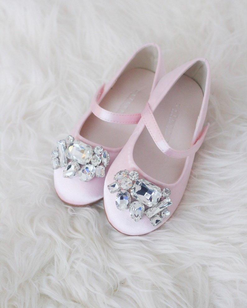 2abb76ac8ee3 PINK SATIN maryjane flats with Oversized BROOCH for