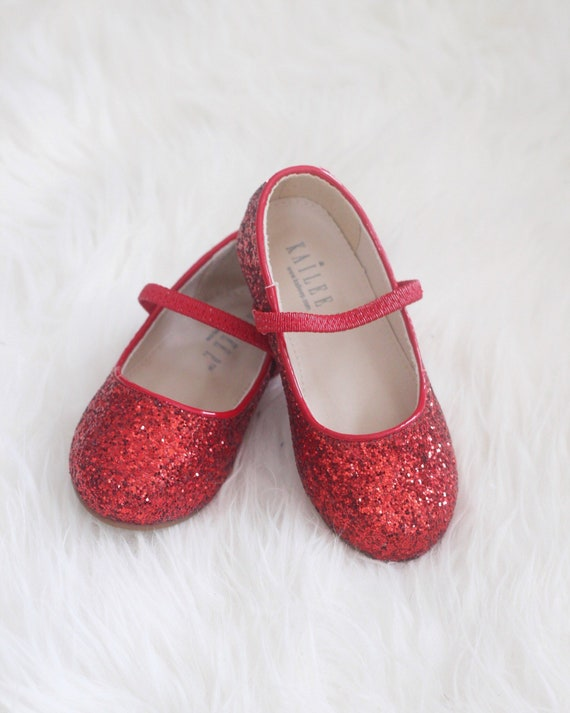 RED Rock Glitter Mary Jane Flats For
