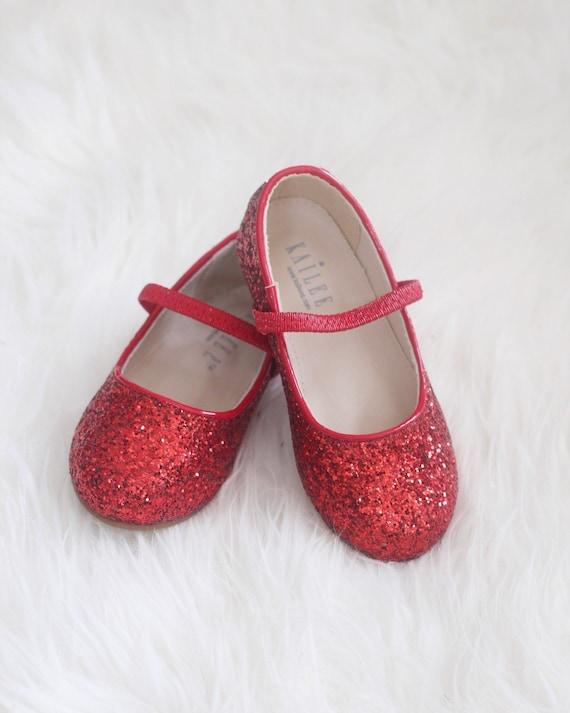 RED Rock Glitter Maryjane flats For flower girls holiday