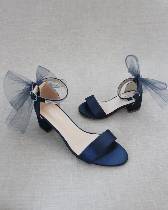 Navy Blue Satin Block Heel Sandal with