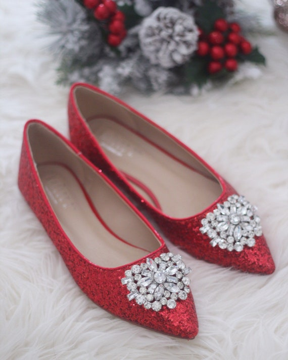 890d4129a1f8 Women Wedding Shoes Bridesmaid Shoes RED ROCK Glitter
