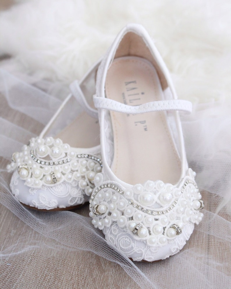 45c3f56a4fa4e WHITE CROCHET LACE Mary Jane Flats with Applique - For flower girls,  baptism shoes, christening shoes