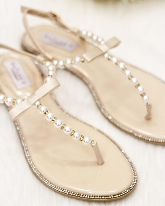 Women Pearl Wedding Sandals T-Strap BEIGE Pearl with  099a77ba9e