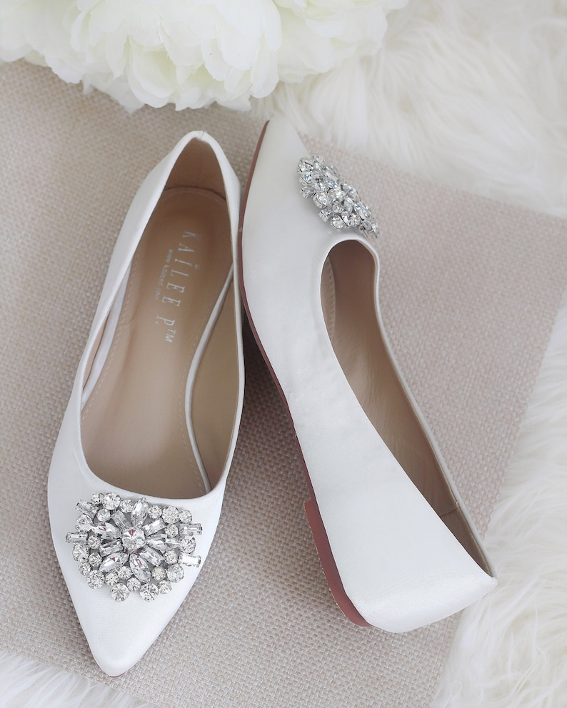 5bf65b508db Off White SATIN Pointy toe flats with oversized rhinestones