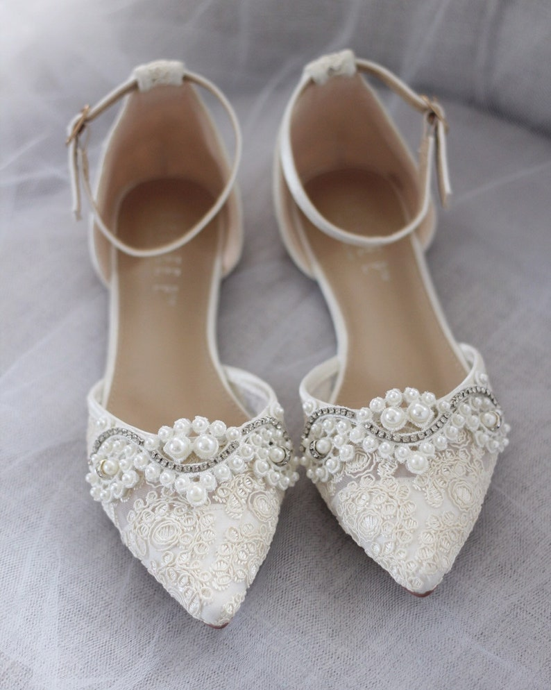 ea83307c8 IVORY CROCHET LACE Pointy toe flats with Pearls Applique | Etsy