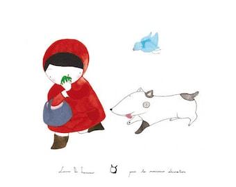 Children's poster : The apple - kids wall art - kids poster - kids illustration