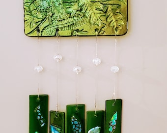 Lady in the Woods, fused glass sun catcher/wind chime
