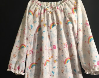 Girls 5/6 Flannel Nightgown, Unicorns, Rainbows and llamas, Cozy child's loungewear