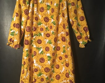 Glorious Sunflowers! Sz 5/6 Nightgown, Cozy Child's Loungewear