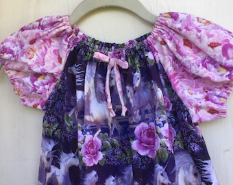Purple and Pink Size 1, 2, 3, 4 Frolicking Unicorns and Roses Peasant Style Dress
