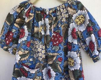 Cotton Size 3 Toddler Bohemian Floral Bright Print Peasant Dress