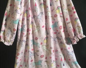 Girls Sz 7/8 Unicorns and Castles Flannel Nightgown, Cozy child's loungewear