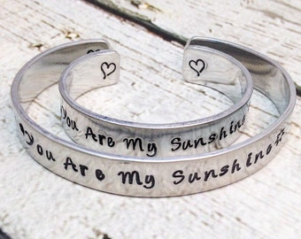 You Are My Sunshine - Mother Daughter Bracelets - Aluminum Cuff Bracelet - Hand Stamped Cuff - Gift for Mom - Personalized Bracelet