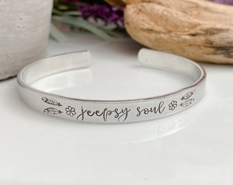 4 Wheeling Off Road Fashion Accessories Gift for Jeep Owner Jeep Girl Engraved Metal Cuff Bracelet Jeep Jewelry Stainless Steel Bangle