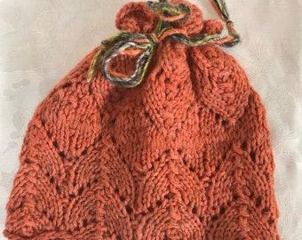 Autumn Lace Ponytail Hat, messy bun, hand dyed, handknit, wool, sized for women, teens,  older children