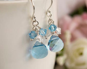 Blue Swarovski Crystal Cluster Earrings Wire Wrapped Aquamarine Crystal Heart Sterling Silver Bridal Wedding Jewelry Gift For Her