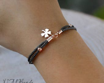 Rose Gold Shamrock Bracelet With Gray Cord Simple Everyday Lucky Make a Wish Jewelry 4 Leaf Clover Bestfriend Gift For Her
