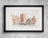 Campbell College watercolour - Limited edition print